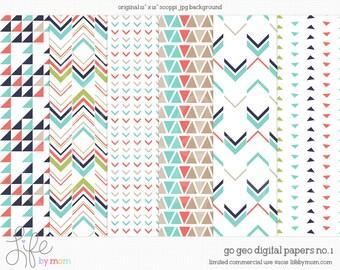 Go Geo  Digital Paper 12x12 digital scrapbook paper, scrapbook background, digital background, paper pack, card making, digital download