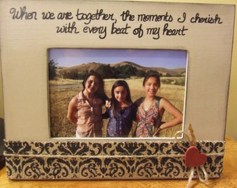 "Family frame Family portrait frame in neutral and black family frame 8 x 10 dimension 4 x 6"" Quote frame Solid wood frames Grandparent gift"
