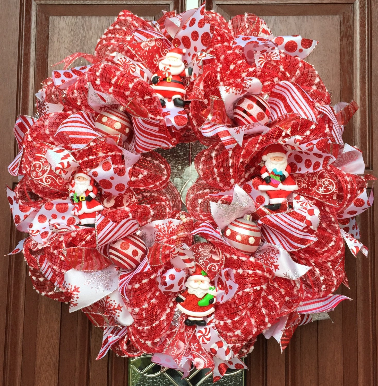 Deco Mesh Christmas Wreath / Red White Christmas Wreath