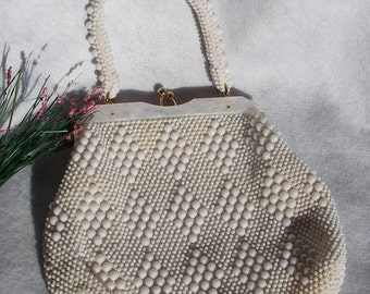 Vintage Purse White Lucite Plastic Beaded Handbag Evening Bag Purse Made in Hong Kong