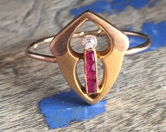 Ruby and Diamond shield conversion ring
