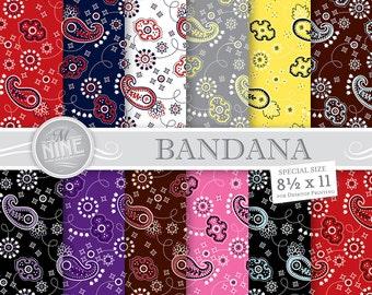 "Multicolor BANDANA Print 8 1/2"" x 11"" Digital Paper Pack Pattern Prints, Instant Download, Patterns Backgrounds Scrapbook Print"