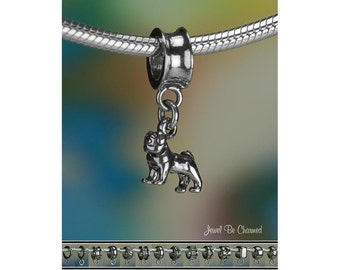 Tiny Pug Charm or European Style Charm Bracelet .925 Sterling Silver