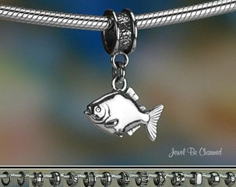 Sterling Silver Piranha Charm or European Style Charm Bracelet .925