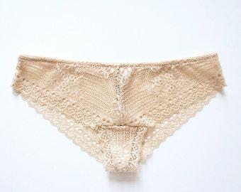 Beige Stretch Lace Panty