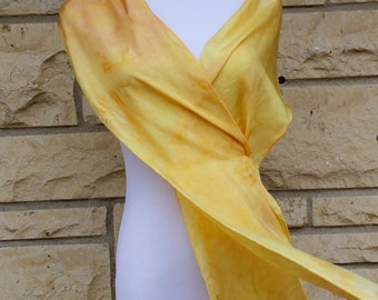 "Yellow silk scarf, hand dyed yellow silk scarf, yellow and apricot silk, 8""x72"" narrow scarf, yellow and apricot abstract scarf"