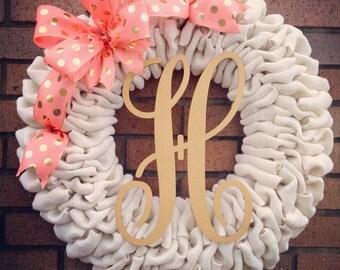 Monogrammed Burlap Wreath - Burlap Monogrammed Wreath - Summer Wreath - Spring Wreath - Wedding Wreath -