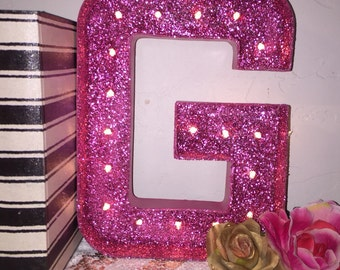 Marquee Letter-12 inch Glitter Marquee Letter-light up letters-marquee letter-Chose any Letter-Custom Marquee Letter-Sale