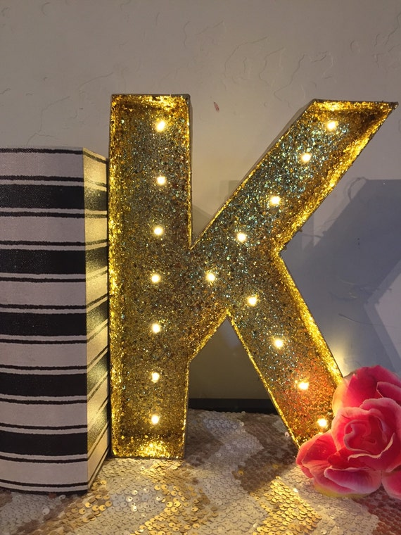 glitter marquee letter gold glitter light by With gold letter lights