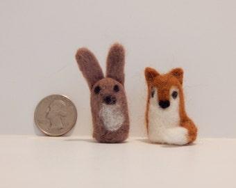 Miniature Felted Woodland Creature: Fox or Bunny