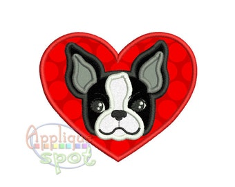 Valentineu0027s Day Boston Terrier Puppy In Heart   4x4 5x7 6x10 Applique  Design Embroidery Machine