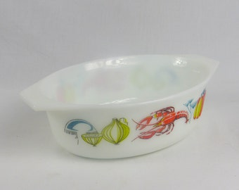 Oval JAJ Lobster Casserole Dish. English Pyrex James A Jobling Serving Dish .60s Vintage Kitchen.