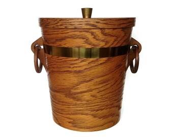 Mid Century Ice Bucket, Large, Oak Veneer, Bent Wood Barware