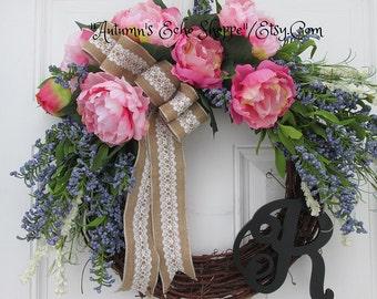 SPRING MONOGRAM WREATH....Spring Door Decor....Front Door Wreath...Interior Decor Wreath...Cottage Chic Decor Wreath...Trending Now Decor..