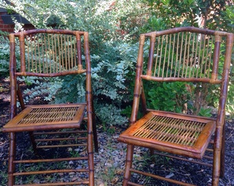 Antique brown bamboo folding chairs
