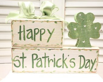 Happy St. Patrick's Day Hand Painted Wood Block
