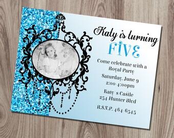 Blue Ornate Frame Birthday Invitation DIY Printable