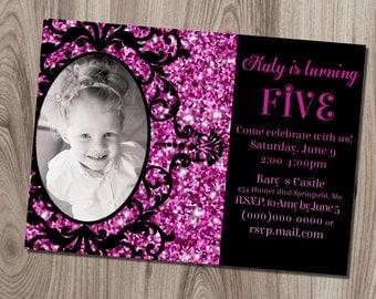 Ornate Purple Glitter Frame Birthday Invitation DIY Printable