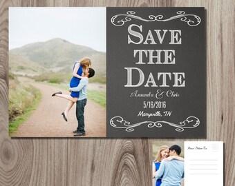 Chalkboard Save the Date Post Card Printable DIY