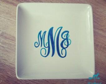 Hand Drawn Square Dish - Custom Monogram