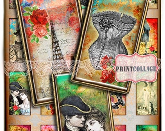 Vintage Accessories Digital Collage Sheet 1 x 2 inch Domino Pendants Printable images Jewelry Backgrounds c123