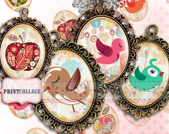 Cabochon oval images Digital Printable images 30x40 mm 30x22 mm 25x18 mm 18x13 mm for pendants / Bird Doodles / bezel cab scrapbooking c69