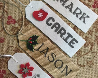 Christmas Stocking NAME TAG Stocking Personalized Name Rustic Country Shabby Theme •Made to Order• Christmas Gift