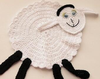 Crochet Sheep Coaster - eco friendly, cotton coaster, white cotton