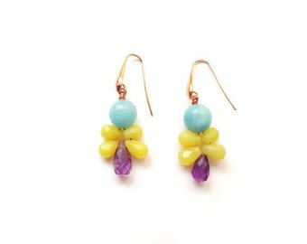 Blue stone earrings, yellow and purple