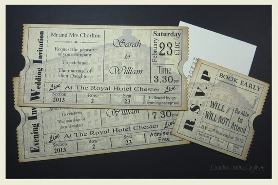 Vintage Ticket wedding Invitation, Vintage Wedding Invitation. Retro ...