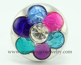 SNAP Jewelry - Snapdragon Jewelry, Noosa Chunk, Snap Button, Popper Charm Jewelry - 6 petal flower
