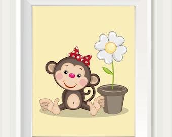 Cute Girl Monkey with Flower Nursery Art Africa Brown Yellow Nursery Print Baby INSTANT DOWNLOAD Child Kids Wall Art Nursery Wall Decor