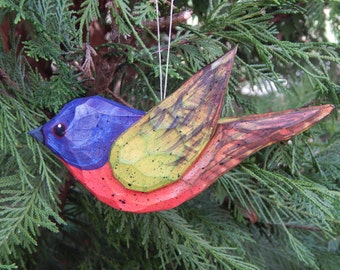 Hand Carved Bird Ornament (Painted Bunting)