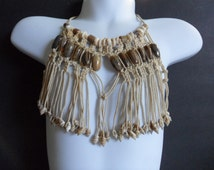 Vintage Boho Bib Necklace 70s Macrame Necklace Childs Cowrie Shell Necklace Bohemian Teenager Jewelry Surfer Girl Boy Beach Jewelry