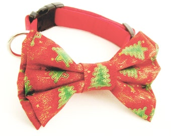 Christmas dog collar with bow tie Dog bow tie collar Dog collar with removable Christmas tree bow tie Bowtie collar Red Christmas dog collar