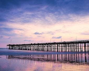 Fine Art Photography, Photographic Print or Canvas Wrap, Twilight, Ocean, Panoramic,  10x20 pier photo, Wall Art, Ventura, California Art