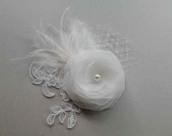 Ivory  Bridal Hair Flower French Lace Veil Feathers Ivory  Hair Clip Ivory Hair Flower Rustic Hair Piece