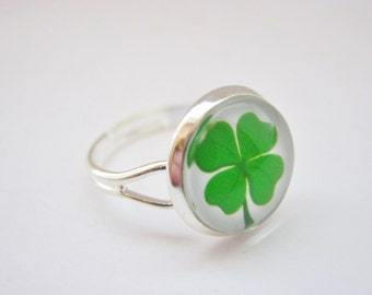 """Irish Ring Four Leaf Clover Ring Adjustable 14mm (1/2"""") Silver Plated Irish Jewelry Gifts for St Patrick's Day, Paddy's Day Gifts"""