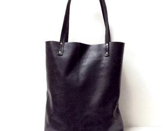Black leather tote bag // Simple market tote bag // black distressed leather