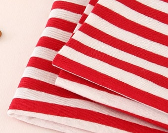 Cotton Jersey Knit Fabric 10 mm Red Stripe By The Yard