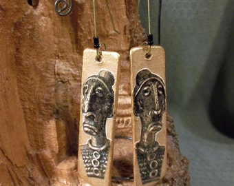 African Spirit Recycled Paper Dangle Earrings on Brass