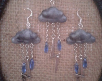 Thunder and Lightning Storm Silver Grey Polymer Clay Fimo Rainy Day Clouds Lightning Bolt Necklace and Earring Set