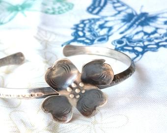 Handmade Silver Dogwood Blossom Bracelet,  Vintage 1950's
