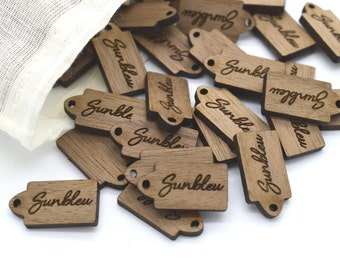 50 Product Tags - Customized with your text - 0.45 x 0.85 Inches - laser cut and engraved