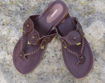 Leather Shoes Indian Sandals Shoes Women Leather Flats  Womens Shoes Boho Sandals Leather Sandals Flip Flops Shoes Handmade Flip Flops