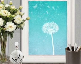 Dandelion art print Turquoise Dandelion wall art Turquoise home decor Bedroom poster Abstract flower art Office wall art 11x14 5x7 8x10