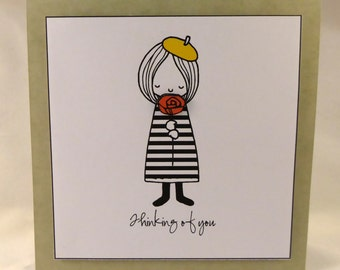 Thinking of you card with French girl image