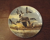 "Dominion China Ltd ""The Landling by Donald Pentz  Candian Geese, Collector plate, Bird in Flight,    Vintage plate"