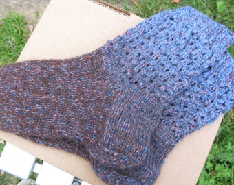 Hand knit  melange wool women's socks.