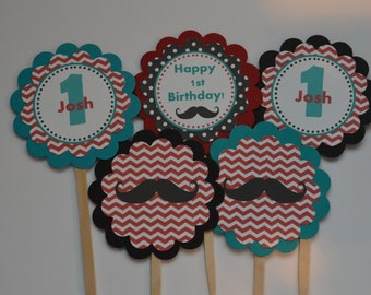 Mustache Cupcake Toppers - Mustache Party - Mustache Birthday - Red Teal Black - Mustache Bash - Little Man - Mustache Toppers  - Set of 12